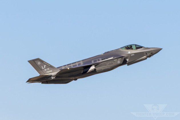 A Lockheed-Martin F-35A Lightning II takes off from Luke AFB, Arizona for a training mission. This aircraft is the flagship of the 61 FS, the primary training squadron for the F-35 at Luke.