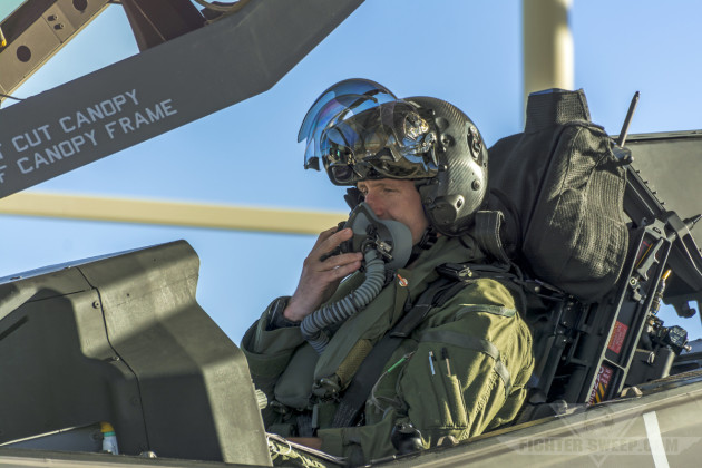 Major Jordan Carvell, F-35A Lightning II pilot with the 53 TEG at Nellis Air Force Base, prepares to launch for a test mission.