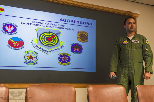 """Lieutenant Colonel Cameron """"Glover"""" Dadgar briefs members of the news media on Red Flag operations while acting as the Deputy Commander of the 414th Combat Training Squadron."""