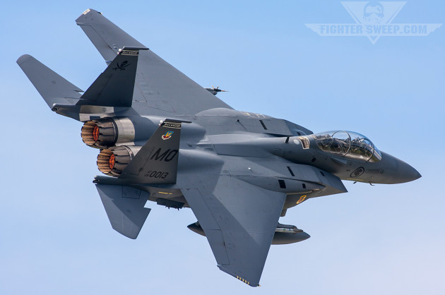 A 428FS F-15SG departs Eielson in spectacular fashion
