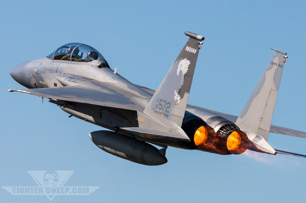A twin-stick F-15D from the 114th FS departs Klamath Falls in a hurry for a Sentry Eagle mission
