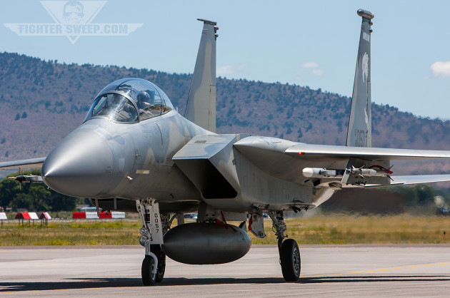 An F-15D from the 114th FS taxies back to its shed after a Sentry Eagle mission