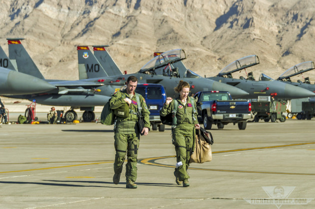 A T-Bolt pilot and WSO walk back for debrief at the conclusion of a Red Flag VUL in early 2012.