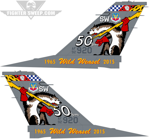 """The design for """"Slapshot"""" that received approval from Air Combat Command to honor the 50th Anniversary of the Wild Weasel. (Design by Kenneth Lustig)"""