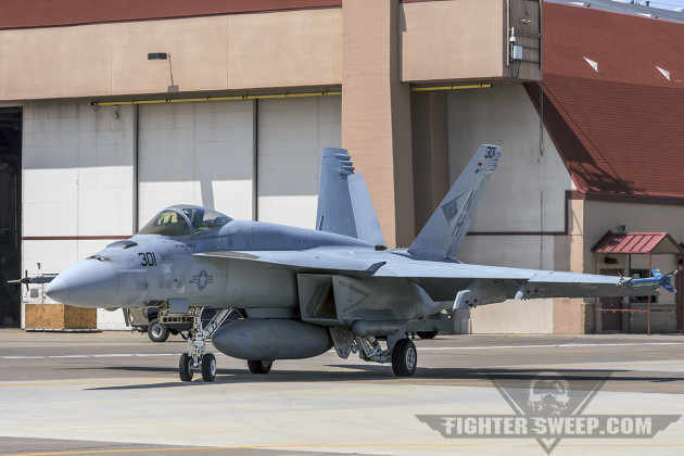 "A Boeing F/A-18E Super Hornet from the ""Blue Diamonds"" of VFA-146 taxis out for a Sentry Eagle DCA mission."