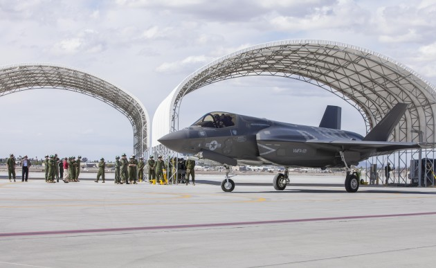 """Marine Fighter Attack Squadron 121 conducted its first operational F-35B Lighting II flight at Marine Corps Air Station Yuma, Ariz., Feb. 21, 2013. """"This flight not only marks the first local flight of the F-35B in Yuma, it marks the first time a flight was conducted with the Marine Corps, or any service branch, primarily responsible for the maintenance of the aircraft,"""" said Lt. Col. Jeffrey Scott, VMFA-121 commanding officer and a native of San Jose, Calif. """"The success of the flight is a tribute the Marines of this squadron, their tremendous work getting to this point and to the field training detachment as well as the support from our higher headquarters at MAG-13, 3rd MAW and Headquarters Marine Corps."""" (Photo by Lance Cpl. Uriel Avendano)"""