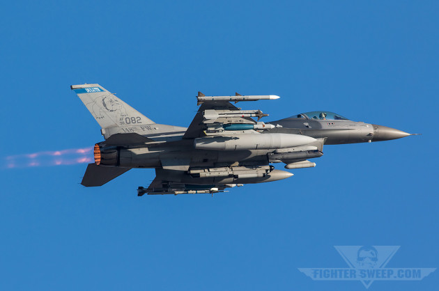 A loaded Minnesota ANG F-16CJ takes off during Sentry Savannah in February 2015