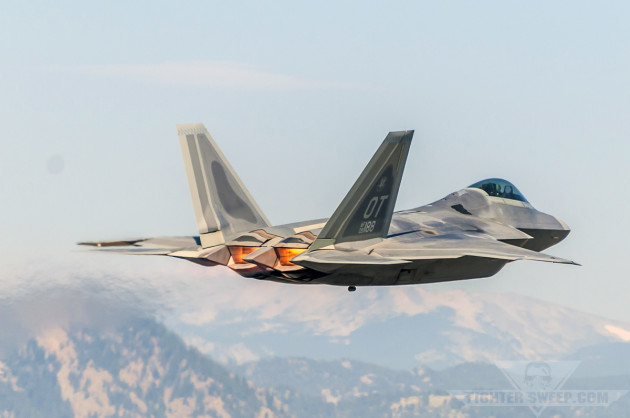 An F-22 Raptor takes off from Rocky Mountain Metropolitan Airport near Broomfield, Colorado.