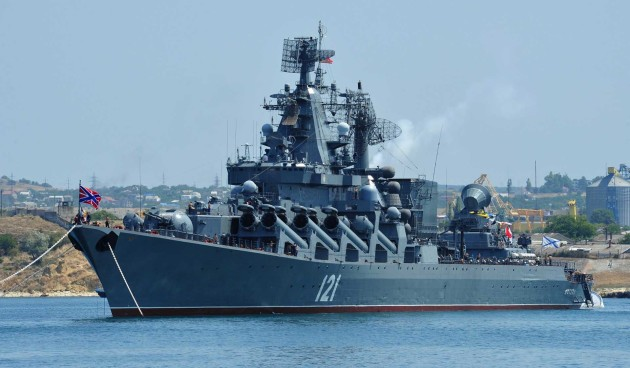 "The Russian Navy's newest cruiser, equipped with the SA-N-20 ""Gargoyle,"" is patrolling the waters of of Syria's Mediterranean shore. (AP/Reuters)"