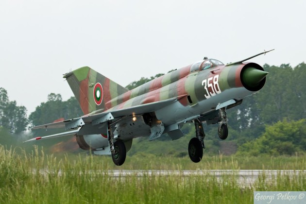 "A Bulgarian Air Force MiG-21 ""Fishbed"" takes off for a training mission. (Photo courtesy of defenceturk.com)"