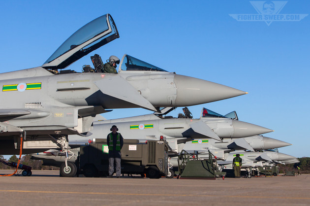 RAF Typhoons from 3 Sqn prepare to launch from JBLE during the Trilateral exercise (photo by Jonathan Derden)