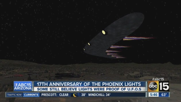 A computer-generated depiction of what the UFO over Phoenix in March of 1997 looked like. (Courtesy of ABC 15)