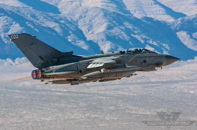 An RAF GR4 Tornado departs Nellis AFB during a Red Flag training mission