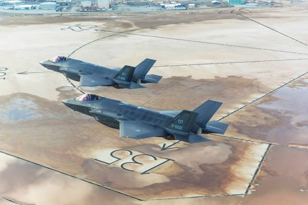 Two Dutch F-35A Lightning IIs flying over Edwards Air Force Base, California. (Photo by Frank Crébas)
