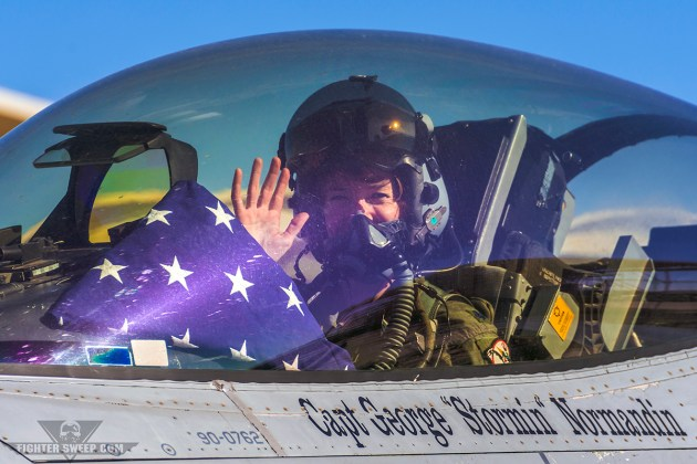 """""""SHOCK"""" waves at the conclusion of her Fini-Flight in the F-16, the capstone on a magnificent career. (Photo by Scott Wolff)"""