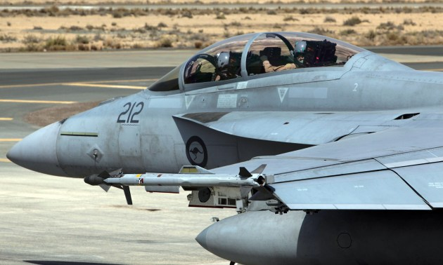 A Royal Australian Air Force F/A-18F Super Hornet taxis to begin another mission in the Middle East. (Photo courtesy of the RAAF)