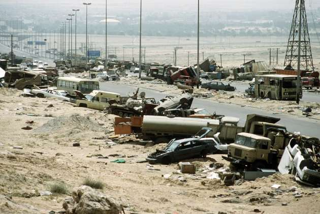 "The infamous ""Highway of Death,"" where the retreating Iraqi Army was absolutely decimated by coalition aircraft. (Photo courtesy of AP/Reuters)"