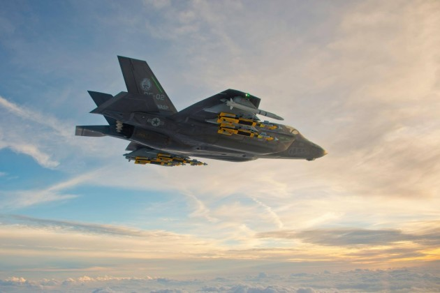 A USMC F-35B Lightning II conducts a flight test mission loaded with external stores. (Photo courtesy of snafu-Solomon.blogspot.com)