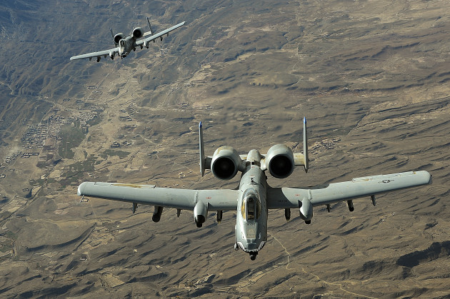 A two-ship A-10 Thunderbolt II formation flies a combat mission recently over Afghanistan. The A-10 has excellent maneuverability at low air speeds and altitude, and is a highly accurate weapons-delivery platform. (U.S. Air Force photo/Staff Sgt. Aaron Allmon)