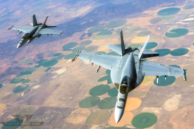 The F/A-18 Hornet fleet, including Super Hornets like these two jets from VFA-146, are experiencing severe issues with their onboard oxygen generation systems. (Photo by Scott Wolff)