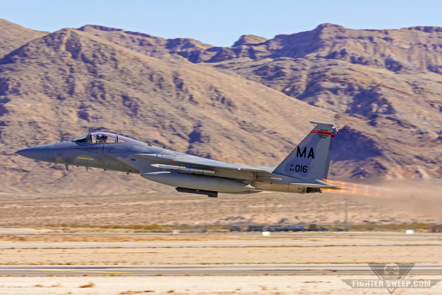 A McDonnell Douglas F-15C Eagle from the Massachusetts Air National Guard departs for an Offensive Counter Air mission during Red Flag 16-1 at Nellis Air Force Base, Nevada. (Photo by Scott Wolff)