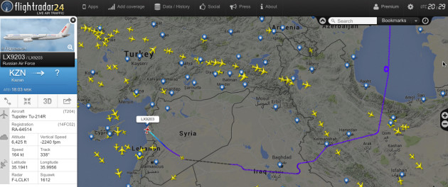 Route map of the Russian Air Force's Tupolev Tu-214R Spyplane from Russia to Syria. (Courtesy of FlightRadar24.com)