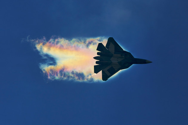 The Sukhoi T-50 or PAK-FA performs at MAKS 2015. (Photo courtesy of Wikipedia)