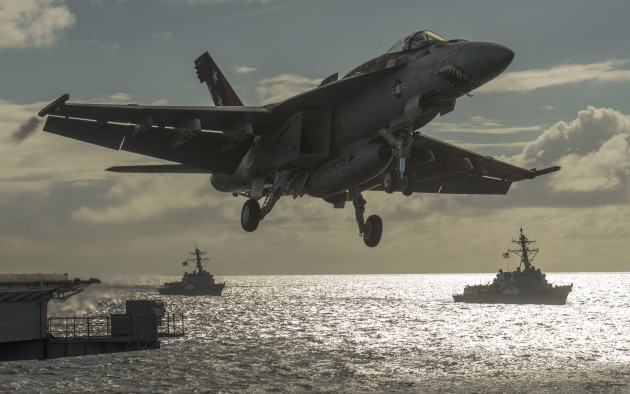 An F/A-18E Super Hornet assigned to the Sunliners of Strike Fighter Squadron (VFA) 81 launches from the aircraft carrier USS Carl Vinson (CVN 70) during an air-power demonstration. Carl Vinson and its embarked air wing, Carrier Air Wing (CVW) 17, are in the 3rd Fleet area of operations returning to homeport after a Middle East and Western Pacific Deployment. (U.S. Navy photo by Mass Communication Specialist 2nd Class John Philip Wagner, Jr./Released)