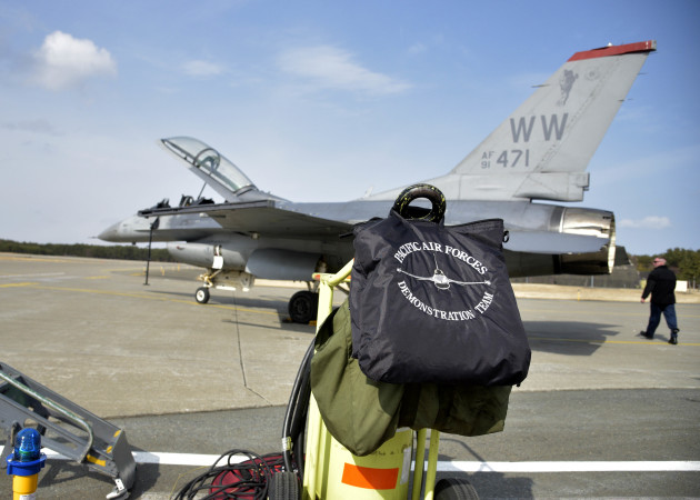 A Pacific Air Forces' F-16 Demonstration Team helmet bag rests on the flightline at Misawa Air Base, Japan, March 10, 2016. The purpose of the demonstration team is to showcase the combat capabilities of the F-16 Fighting Falcon as well as fostering positive international relations. The team has traveled throughout the Pacific Theatre to perform for more than two million spectators the past two years. (U.S. Air Force photo by Senior Airman Deana Heitzman)