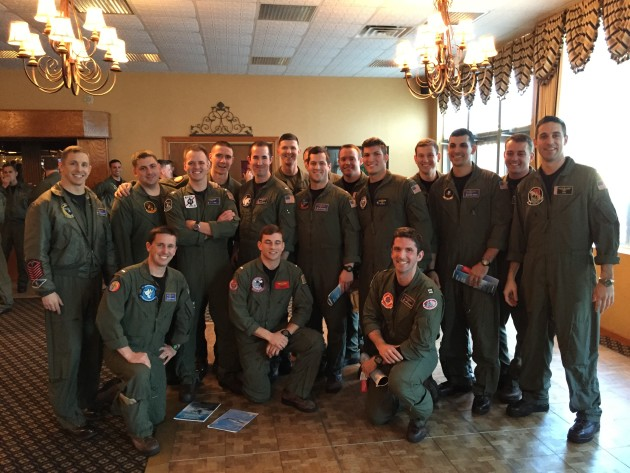 "A group of Naval Aviators from VFA-106 is ""Patched"" by their new commands. (Photo courtesy of NorfolkNavyFlagship.com)"