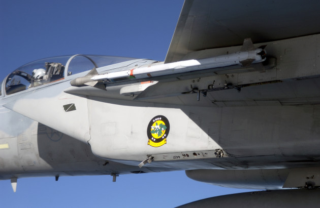 A close up view showing an AIM-9X Sidewinder short-range, heat-seeking air intercept missile attached to the port side inboard wing pylon of a US Air Force (USAF) F-15C Eagle aircraft assigned to Detachment 1, 28th Test Squadron, Nellis Air Force Base (AFB), Nevada (NV), during an evaluation flight conducted over the Gulf of Mexico by the Air Force Operational Test and Evaluation Center, Detachment 2, located at Eglin AFB, Florida (FL).