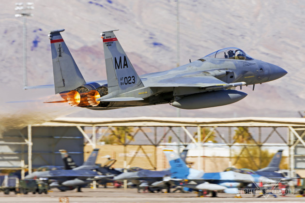 An F-15C from the 104th Fighter Wing takes off from Nellis Air Force Base, Nevada during Red Flag 16-1. (Photo by Scott Wolff)