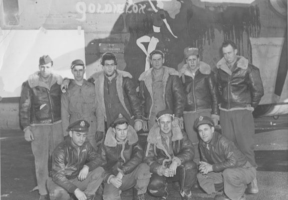 Avery Kay, front row, far left, and his entire aircrew in 1943. (Photo courtesy of POGO)