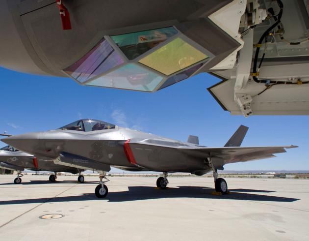 Lockheed Martin, Edwards Air Force Base, 416th FLTS F-35 ITF, JSF, 6 ship static display, sunrise, AF-1, AF-2, AF-3, AF-4, AF-6, AF-7