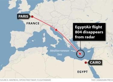Flight path of Egypt 804 Source: CBC