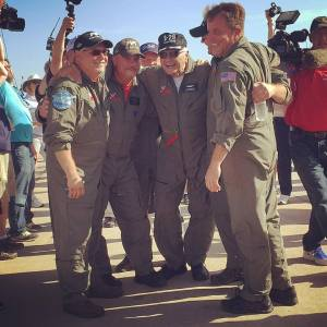 B-29 Doc Flight Crew with Doc's rescuer, Tony Mazzolini, after a successful and historic first flight. Credit: Doc's Friends Facebook page