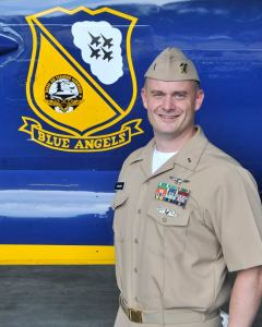 "Navy Lt. j.g. Timothy Hawkins, 37, of Scranton, Pennsylvania, is an Administrative Officer currently assigned to Strike Fighter Squadron ONE FOUR THREE (VFA-143), the ""Pukin' Dogs,"" at NAS Oceana, Virginia. He was commissioned through the Limited Duty Officer Program in 2013"