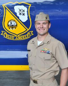 """Navy Lt. Dave Steppe, 31, of Birmingham, Alabama, is an EA-18G Growler Naval Flight Officer currently assigned to Electronic Attack Squadron ONE TWO NINE (VAQ-129), the """"Vikings,"""" at NAS Whidbey Island, Washington. He is a 2008 graduate of Auburn University, Auburn, Alabama."""