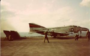 Chief Chevy directing a VF-154 F-4 Phantom (courtesy John Nyberg)