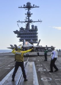 An F-35C taxis onto CAT I onboard the USS George Washington (US Navy)