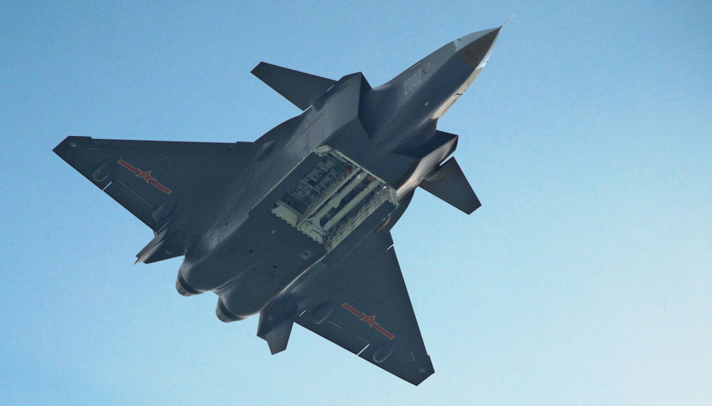 The J-20 shows off it's weapons bay.