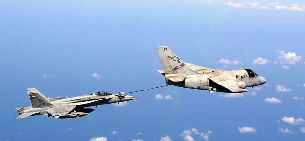 s-3 viking refueling an f18 hornet