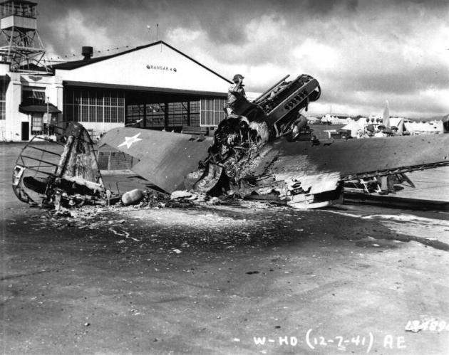 Wheeler Field P-40 Destroyed - National Park Service Photo