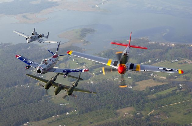 A-10,_F-86,_P-38_&_P-51_Heritage_formation