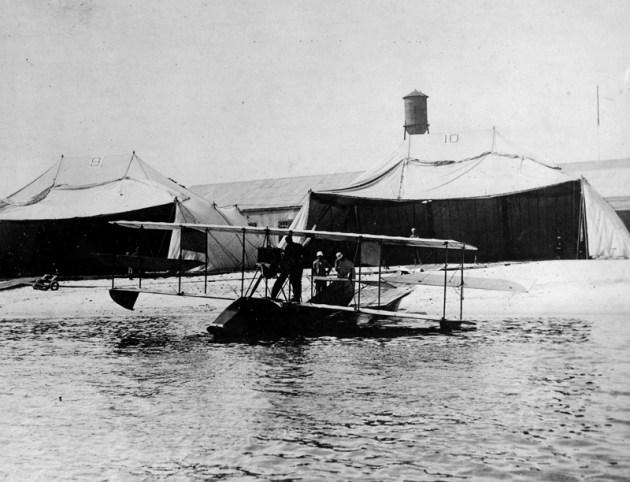 tent hangars erected along the beach at Naval Aeronautic Station Pensacola