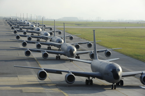 Air Force KC-135 from the 909th Air Refueling Squadron