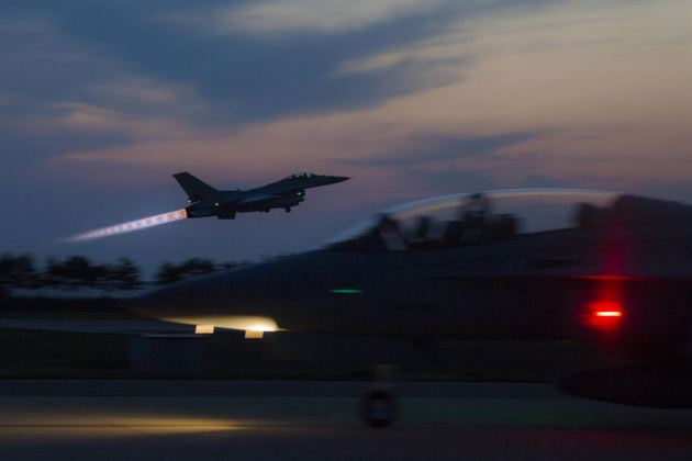 South Korean air force F-16 Fighting Falcon aircraft takes off during Exercise Max Thunder 17