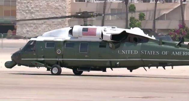 Marine One takes off from Ben Gurion Airport with US President Donald Trump