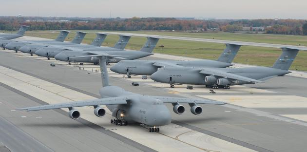 c-5m galaxy Dover aircraft in the fall