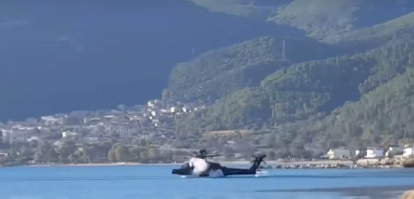 Watch: Dramatic Crash of an Apache Helicopter into the Water